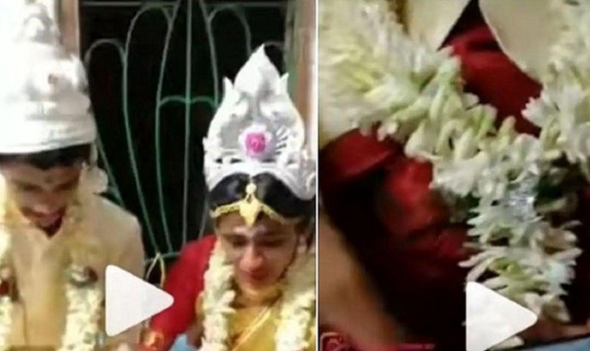 حرکت عجیب عروس و داماد در جشن عروسی / کلیپ